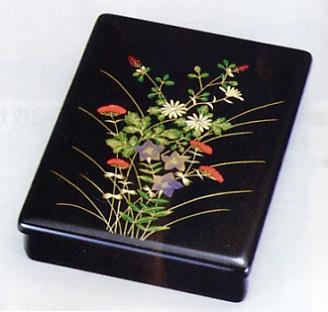 文具 置物■ 小文庫 秋草蒔絵 ■木製 紙箱入【高岡漆器】