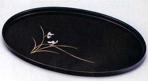 文具 置物■ 小判盆 紫蘭 ■木製 紙箱入【高岡漆器】