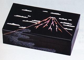 文具 置物■ 宝石箱 富士山貝入り ■木製 紙箱入【高岡漆器】