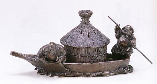 香炉・香立て■ 香炉 藻を刈る(儲かる) ■蝋型青銅(ブロンズ)製 桐箱入り【高岡銅器】