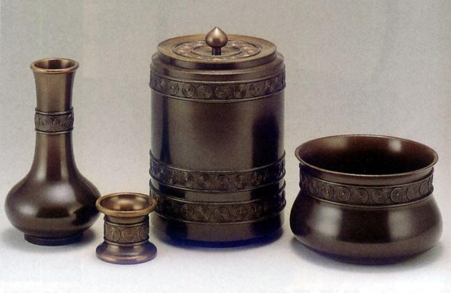 茶器・茶道具■ 皆具 累座 ■一佳作 青銅(ブロンズ)製 桐箱入【高岡銅器】