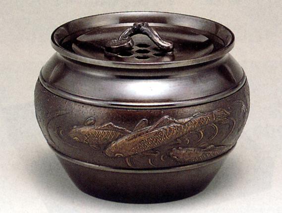茶器・茶道具■ 建水 鯉 ■瑞峰作 青銅(ブロンズ)製 桐箱入【高岡銅器】