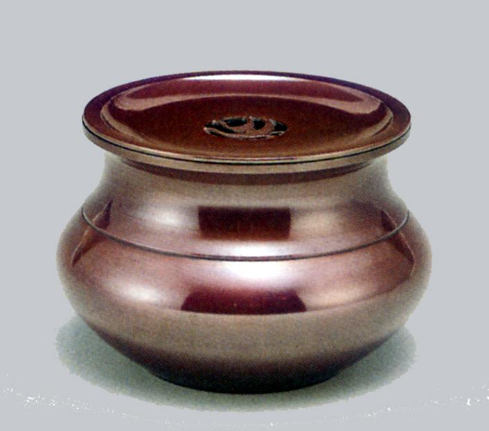 茶器・茶道具■ 建水 福型(蓋付) 小 ■瑞峰作 青銅(ブロンズ)製 紙箱入【高岡銅器】