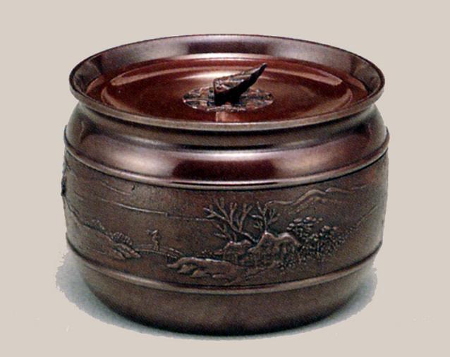 茶器・茶道具■ 建水 山水 ■瑞峰作 青銅(ブロンズ)製 紙箱入【高岡銅器】