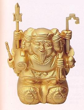 仏像 七福神■ 三面大黒天 枡入り 圓徳院御札付 ■銅製 桐箱入【高岡銅器】