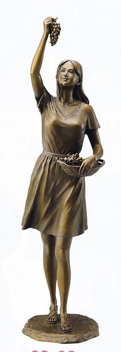 置物 銅像■ ぶどうを摘む少女 ■仙里篤成作 鋳銅製 紙箱入り【高岡銅器】