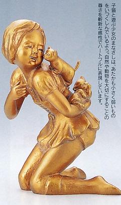 置物 銅像■ たわむれ(小) ■清河宗翠作 鋳銅製【高岡銅器】