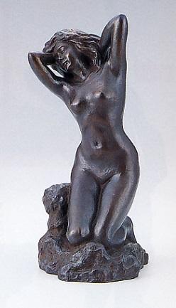置物 銅像■ 水浴び(小) ■清河宗翠作 鋳銅製【高岡銅器】