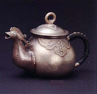 茶器・茶道具■ 純銀製 獣口急須 古び仕上 240g ■純銀製 桐箱入【高岡銅器】
