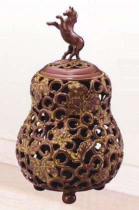香炉・香立て■ 香炉 瓢箪透駒 ■名取川雅司作 銅製 桐箱入【高岡銅器】