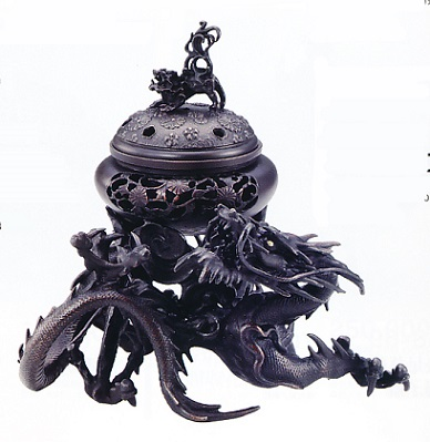 香炉・香立て■ 香炉 吉祥龍 ■銅製 桐箱入【高岡銅器】