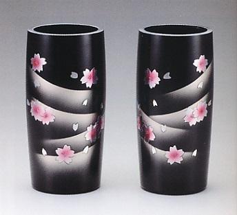 花器・花瓶■ 対花瓶 細寸胴型 桜彫金 8号 ■桶谷作 アルミ製 化粧箱入り【高岡銅器】