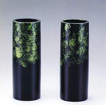 花器・花瓶■ 対花瓶 細寸胴型 雅色 緑 8号 ■桶谷作 アルミ製 化粧箱入り【高岡銅器】