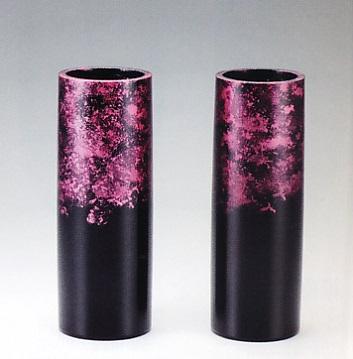 花器・花瓶■ 対花瓶 細寸胴型 雅色 赤 8号 ■桶谷作 アルミ製 化粧箱入り【高岡銅器】
