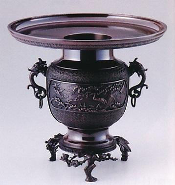 花器・花瓶■ 尺1寸鐶付 松竹梅 ■銅製 紙箱入り【高岡銅器】