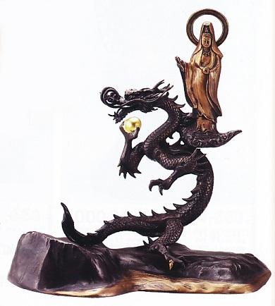 仏像■ 岩上龍神観音像 13号 ■善祐作作■銅製 化粧箱入り【高岡銅器】