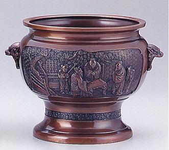 茶器・茶道具■ 火鉢 松人物獅子耳 ■銅製【高岡銅器】