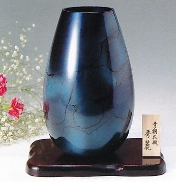 花器・花瓶■ 花瓶 秀麗(ブルーベリー) ■木製花台付 青銅(ブロンズ)製 紙箱入り【高岡銅器】