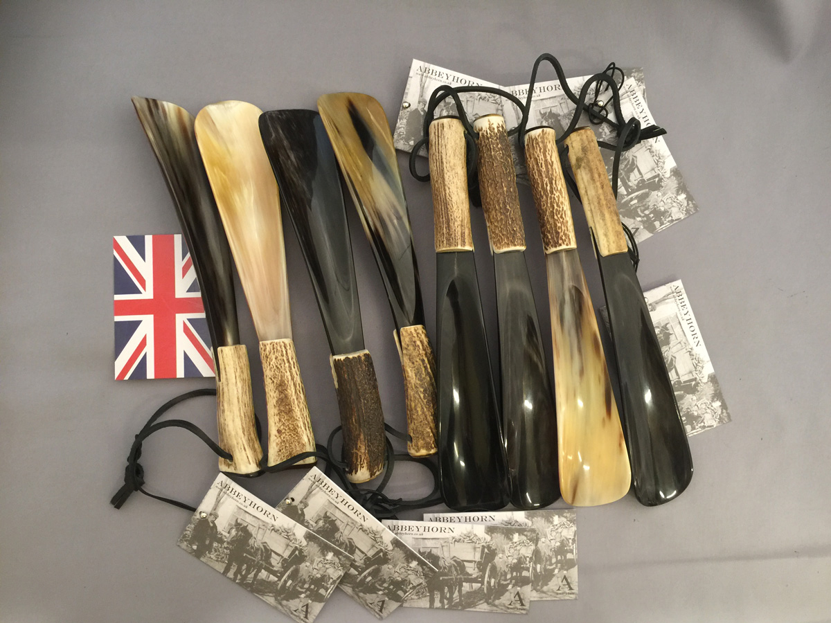 靴べら 英国製 アビーホーン Abbeyhorn 本水牛角 シューホーン 鹿角 スタッグ SS/AST N033