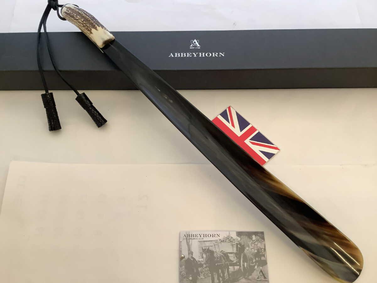 靴べら 英国製 アビーホーン Abbeyhorn 本水牛角 ロングシューホーン 現物写真 鹿角 スタッグ LS/HV N050
