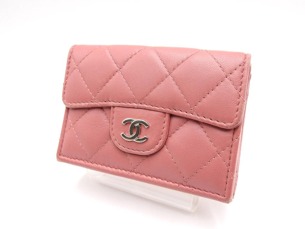 シャネル マトラッセ ココマーク 三つ折り コンパクト 財布 ラムスキン ピンク シルバー金具 A84401【中古】