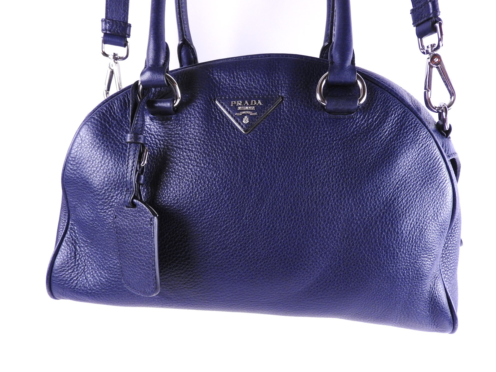 d52fe5e4893010 Prada 2WAY bowling bag shoulder bag handbag 1BB008 VIT.DAINO BALTICO navy  ...