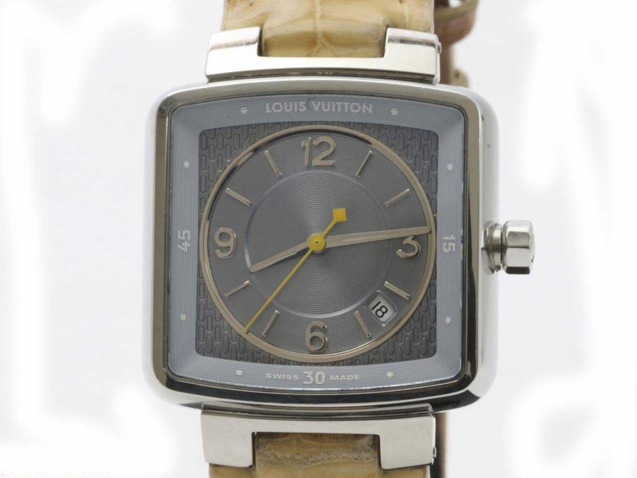 【値下げ・値下】ルイヴィトン 時計 スピーディ Q2211 タンブール レディース ウォッチ クロコ 水色 ビトン 女性用 クォーツ 腕時計 スクエア 【中古】