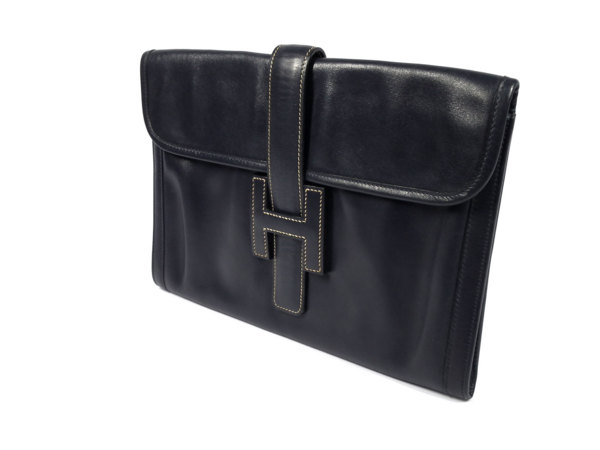 2db9abe48fbe Hermes JIGE clutch clutch bag men and women and for HERMES Navy dark blue H  mark leather men women