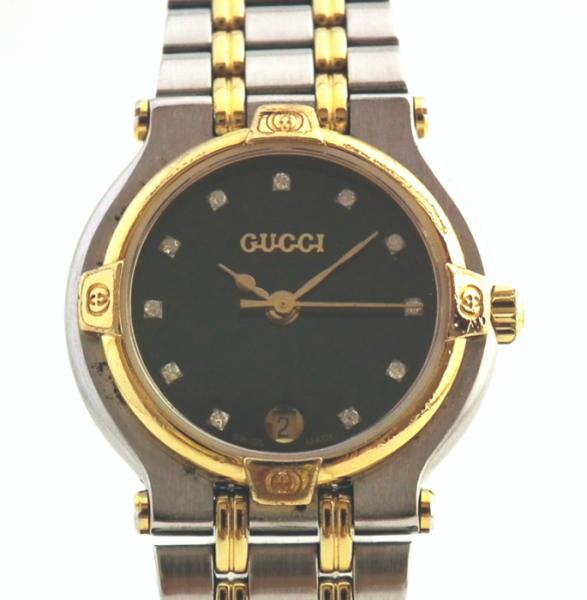 Gucci 9000L ladies watch 11 P diamond Combi black silver watch watches GUCCI