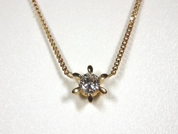 ノンブランド K18 ネックレス 6本爪ダイヤモンド プチネックレス D0.22ct 18金 【中古】