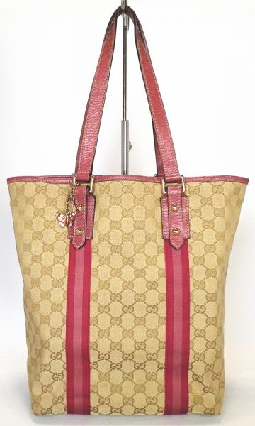 0c1705bbdf0 Gucci charm with GG canvas tote bag pink GG beige shoulder bag GUCCI 162899