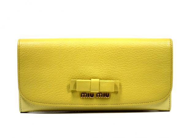未使用 ミュウミュウ 長財布 リボン付 5M1109 イエロー レザー 黄色 2トーンレディース レザー バイカラー MIUMIU 【中古】
