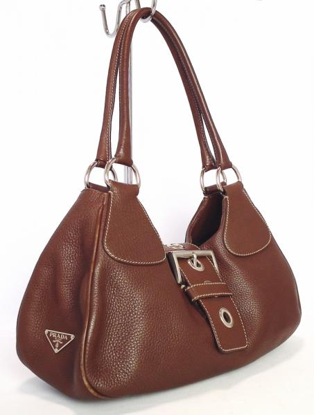 ebde33b093e703 Prada Handbag leather tote bag logo shoulder bag Brown Brown women's PRADA
