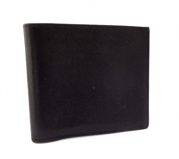 エルメス 札入れ 二つ折り 黒 レザー コンパクト メンズ レディース 財布 ブラック 2つ折り 男女兼用 カーフ HERMES【中古】