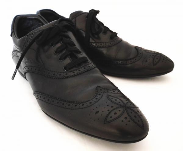 ルイヴィトン メンズ シューズ 靴 28.5cm ビジネスシューズ モノグラム 10 ブラック 革靴 レースアップシューズ  黒 LV レザー LOUIS VUITTON  ルイ・ビトン ルイ・ヴィトン ルイビトン 【中古】