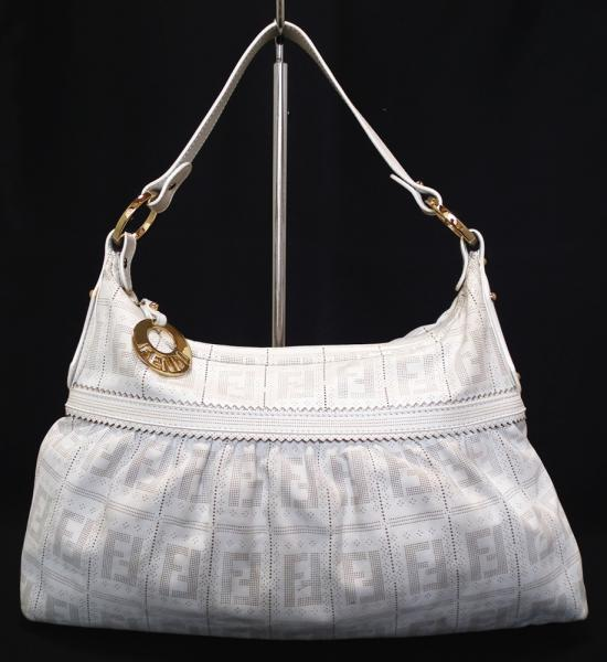 One Shoulder White Fendi Handbags Perforated Leather Bag