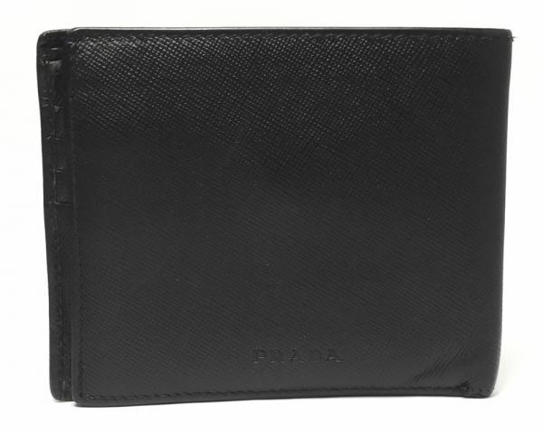 プラダ 二つ折り財布 型押しレザー ブラック 黒 メンズ コインケース付き ロゴ PRADA 【中古】