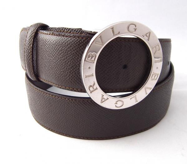 ブルガリ ベルト 85cm メンズ ブルガリブルガリ シルバー ブラウン 紳士用 茶色 BVLGARI 【中古】