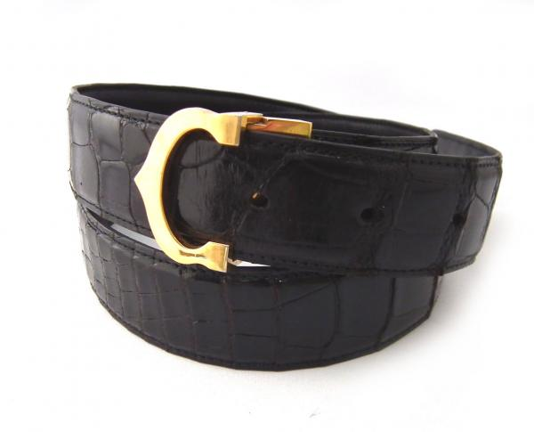 78934acb9ea0f Cartier belts crocodile mast C buckle black Mens Gold mens Croc black  CARTIER