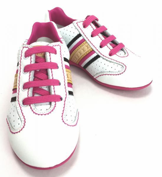 【値下げ】未使用 ルイヴィトン スニーカー 約15cm キッズ用 シューズ レザー 白 ピンク #25 靴【中古】