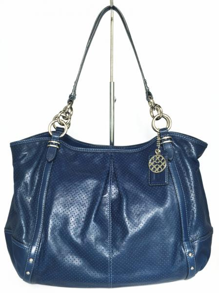 Coach shoulder bag tote bag blue perforated leather 06227 tote bag Navy  COACH blue women s ce89d1ffa5