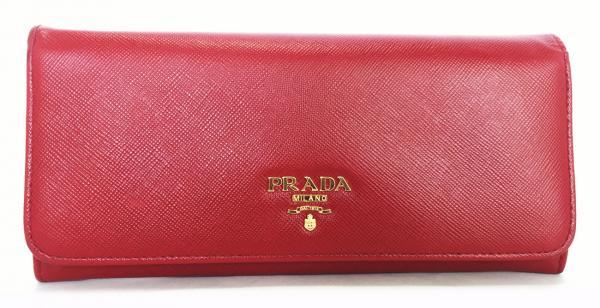 new product 44732 5ffce 普拉達 (prada) 長錢包皮革1M1132財布紅色紅色真皮女裝普拉達(prada)