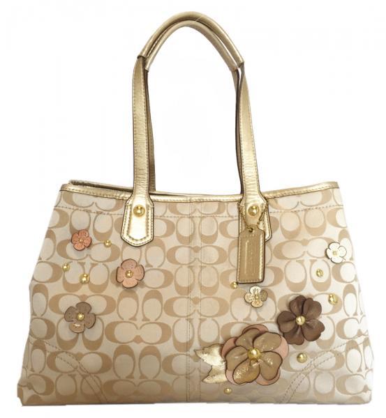 Coach Tote Signature Bag Lique Flowers Flower Beige F18894 Women S