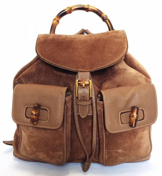 Gucci backpack leather bamboo Brown Brown backpack GUCCI suede men\u0027s women\u0027s