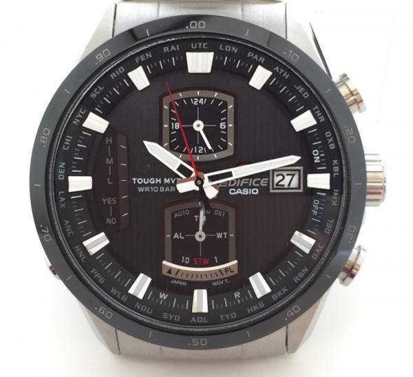 【値下・値下げ】カシオ 時計 エディフィス 電波時計 EQW-A1100 メンズ クロノグラフ CASIO 美品 紳士用 腕時計 メンズウォッチ SS 黒文字盤 【中古】