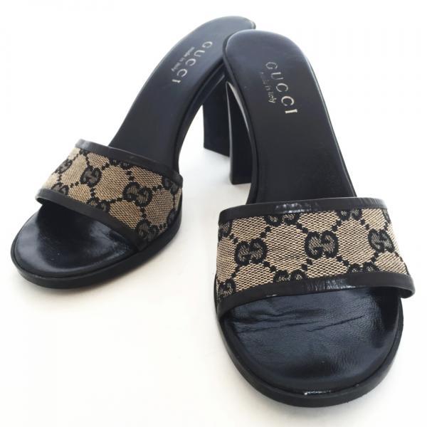 e32fcd0eec89d Gucci GG Mule sandal heel black GG canvas GUCCI black 35 1   2 Womens  Leather GG pattern