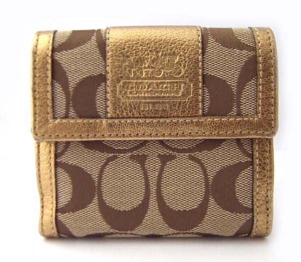 新品同様 コーチ スモールウォレット 財布 二つ折り財布 シグネチャー ゴールド ベージュ レディース COACH コンパクト 【中古】