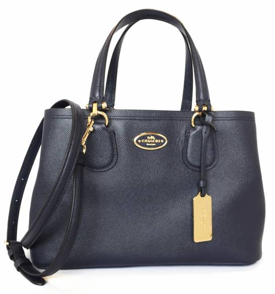Mint Coach 2 Way Handbag Tote Bag Leather Navy Blue Shoulder Women S Commuter Allisa