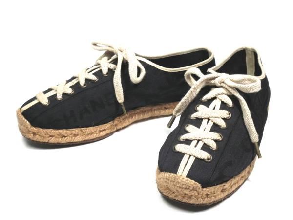 Chanel shoes women s Shoes Sneakers espadrille logo   37 Black Black CHANEL 88821a0682