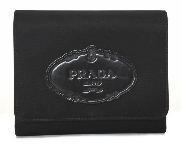 プラダ ギャラ付 三つ折り 財布 ブラック 黒 ナイロン レディース 1M0710 PRADA レザー 財布 ロゴ【中古】